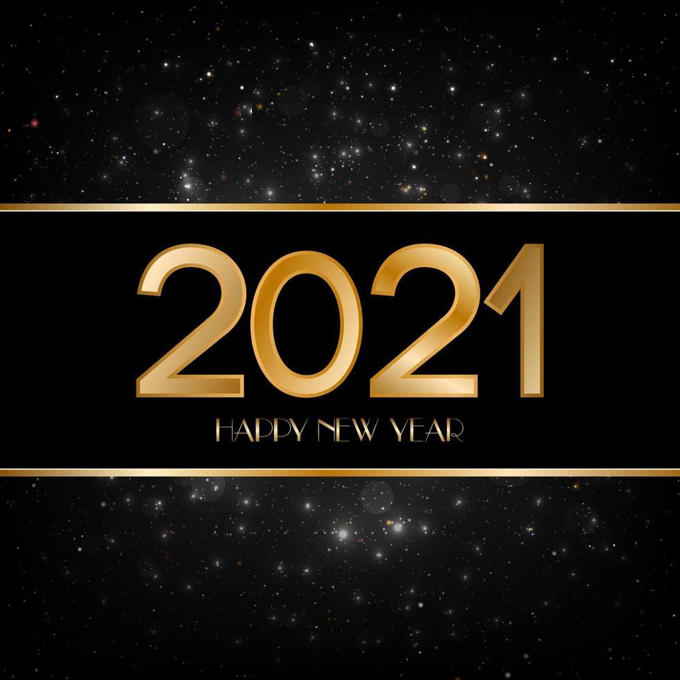 felice anno nuovo sfondo nero e oro vettore