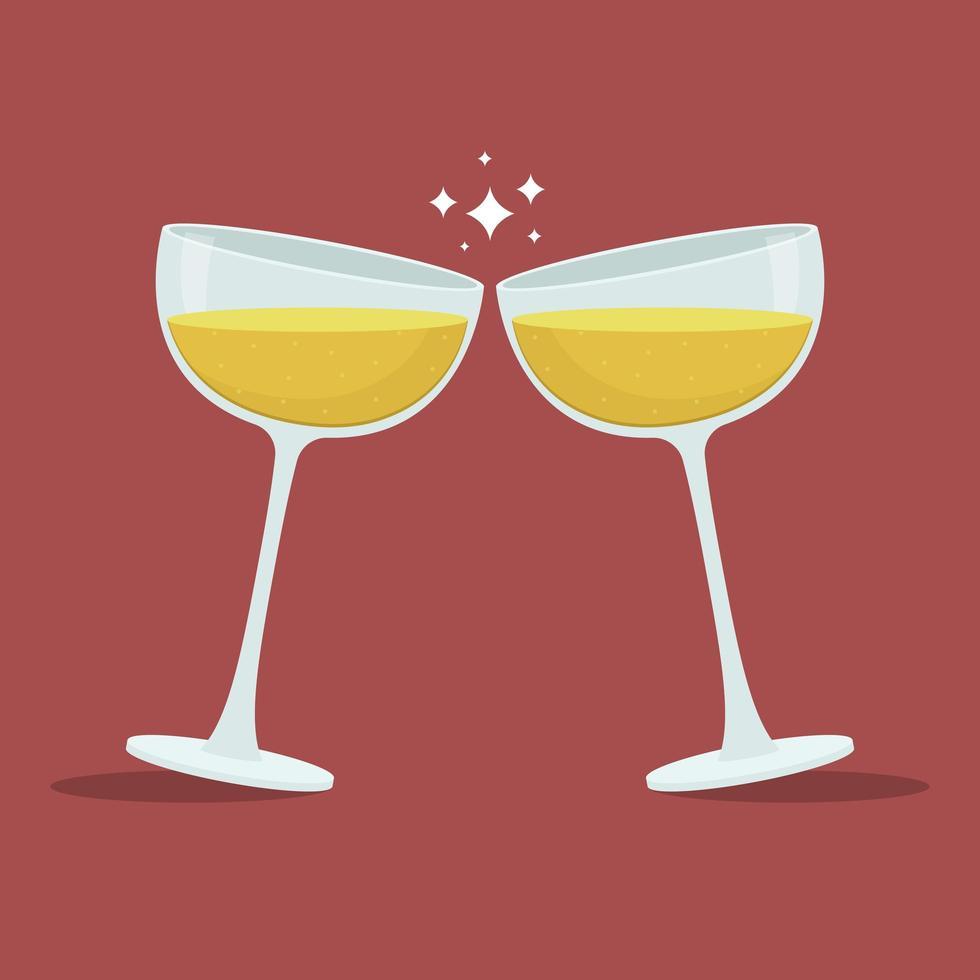 illustrazione di disegno vettoriale di bicchieri di champagne toast