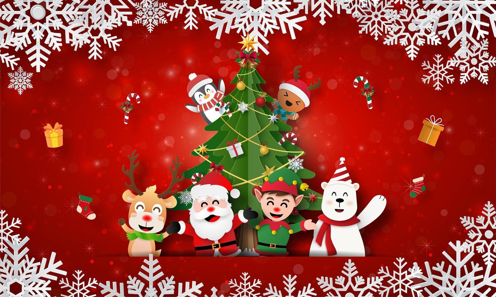 Babbo Natale e amici con albero di Natale sul banner di cartolina di Natale vettore
