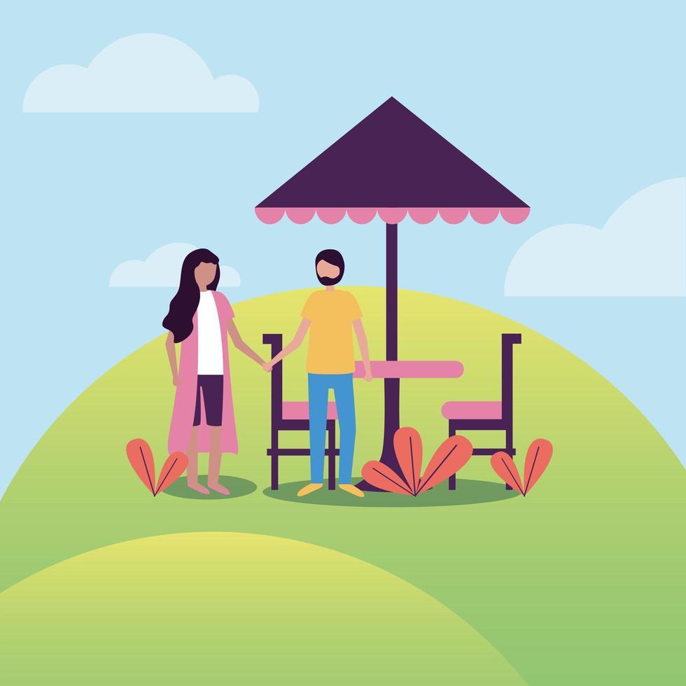 donna e uomo al parco con disegno vettoriale tavolo ombrellone