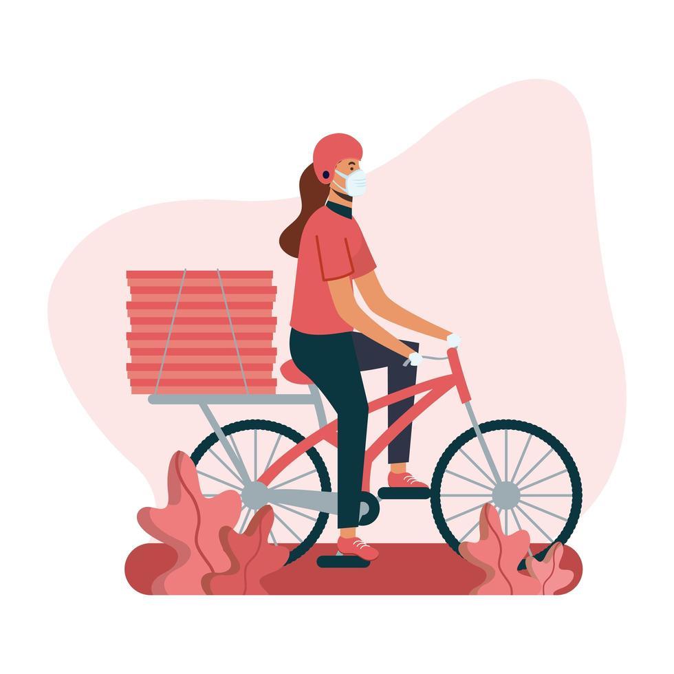 donna di consegna con maschera bici e scatole disegno vettoriale