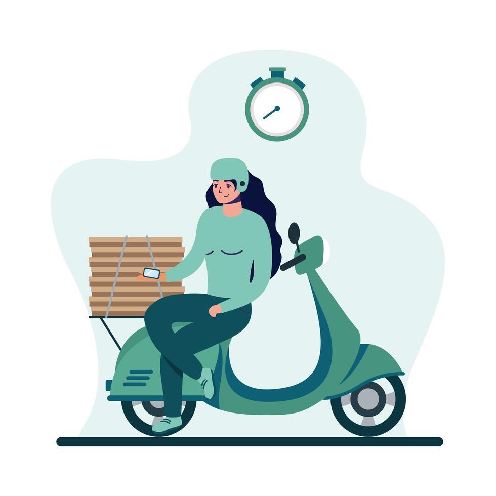 donna di consegna con maschera moto e scatole disegno vettoriale
