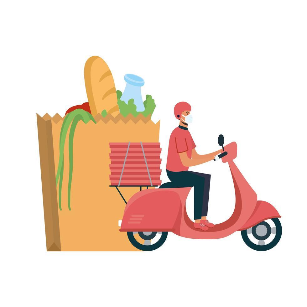 fattorino con maschera moto borsa e scatole disegno vettoriale