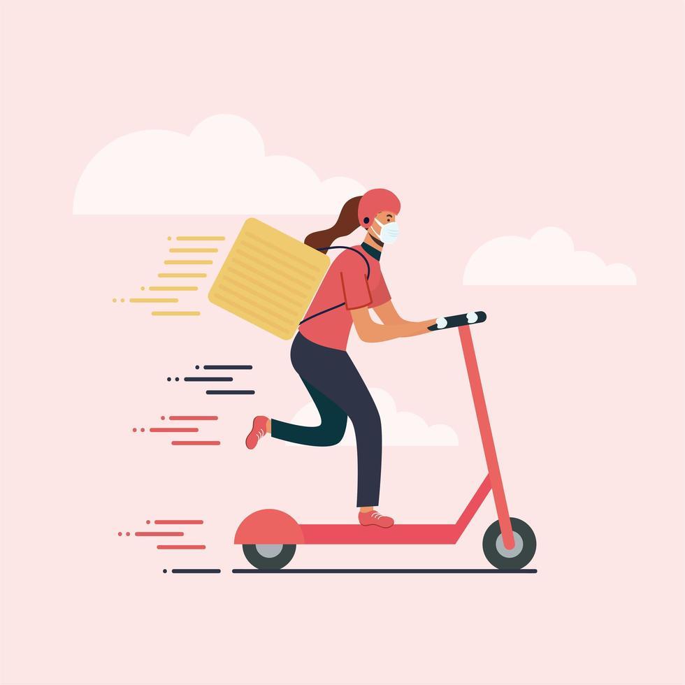 donna di consegna con scooter maschera e disegno vettoriale scatola