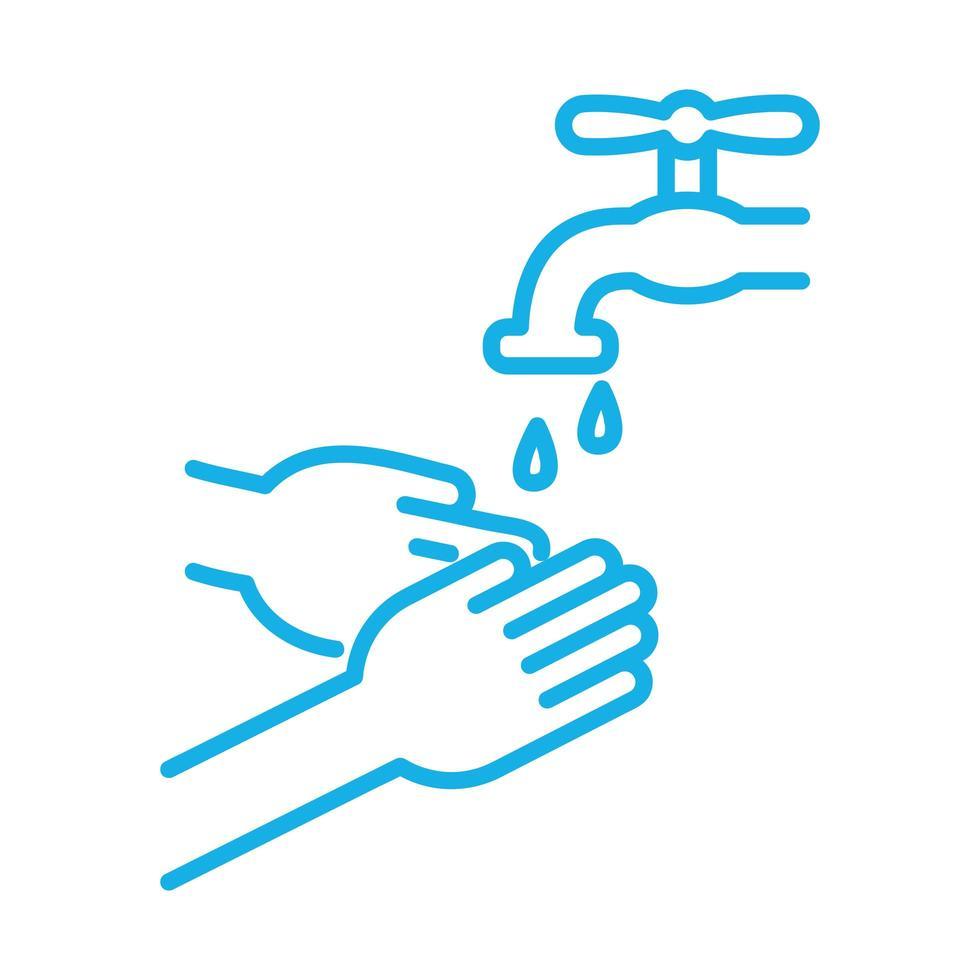 mani che lavano nell'icona di stile della linea del rubinetto vettore