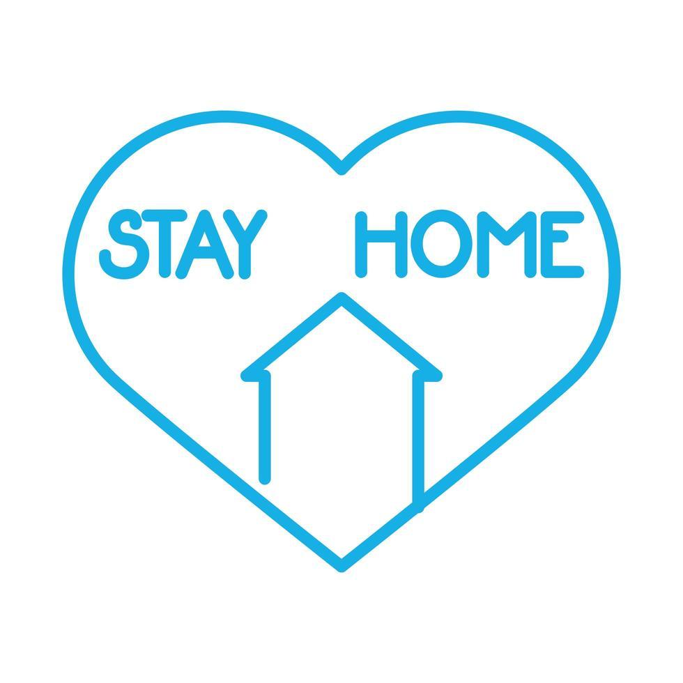 facciata della casa con il cuore resta a casa vettore