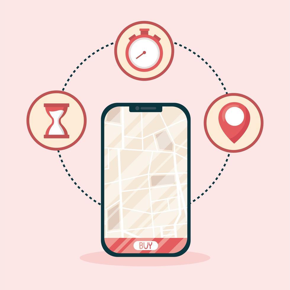 smartphone con mappa di consegna e acquista pulsante disegno vettoriale