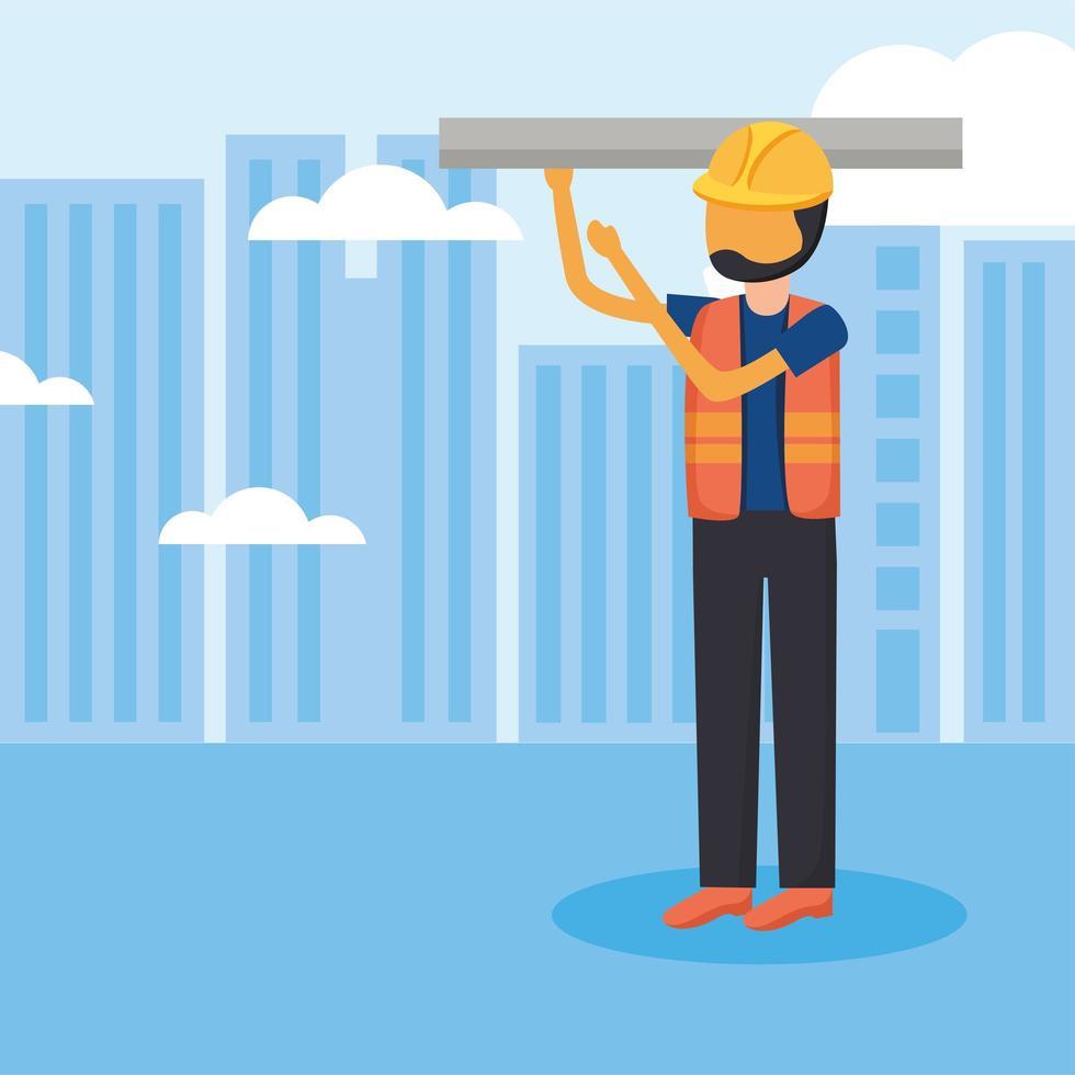 uomo di costruzione con il casco al disegno vettoriale di città