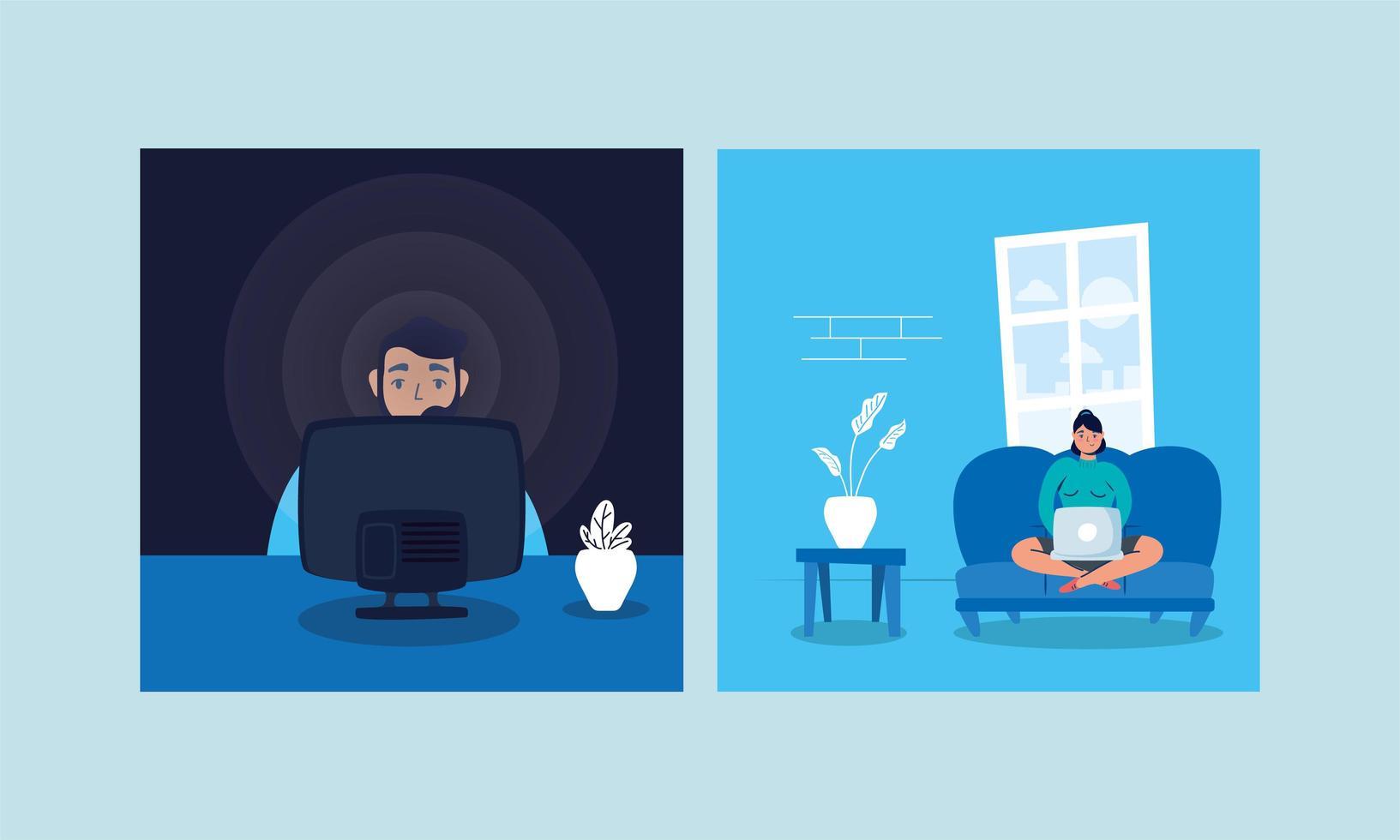 coppia utilizzando laptop e guardare la tv soggiorno a casa campagna vettore