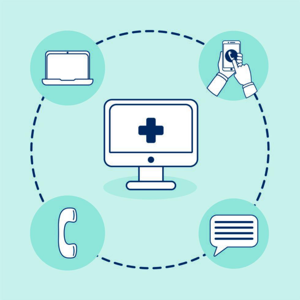 desktop con tecnologia di telemedicina e set di icone vettore