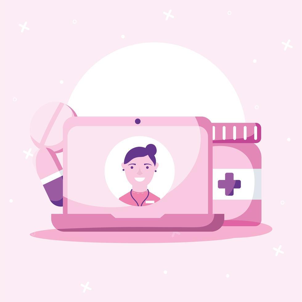 medico femminile in linea sulle pillole del computer portatile e sul disegno di vettore del vaso