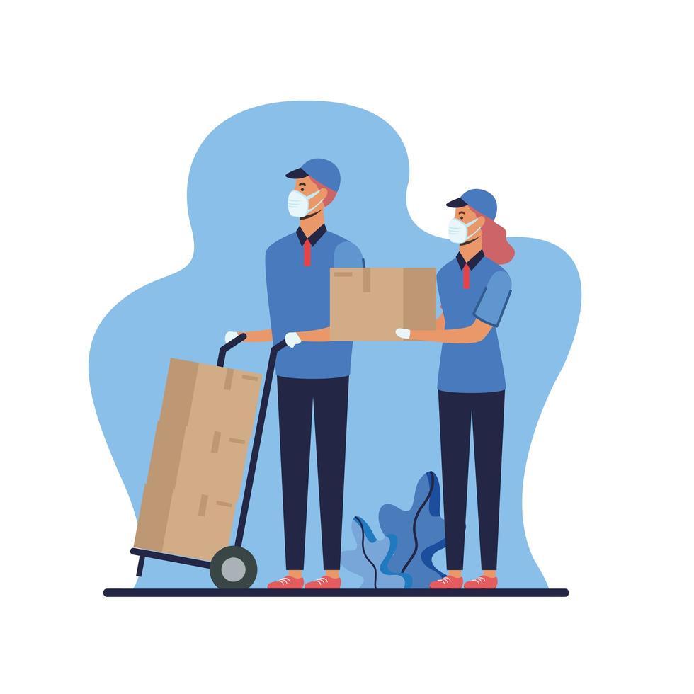 donna e uomo con maschere e scatole su disegno vettoriale carrello
