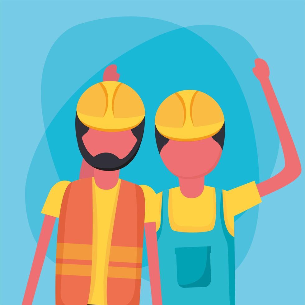 uomini di costruzione con disegno vettoriale di caschi