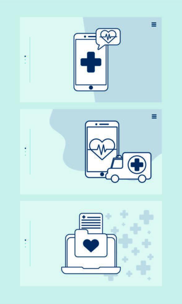 smartphone e laptop con tecnologia di telemedicina vettore