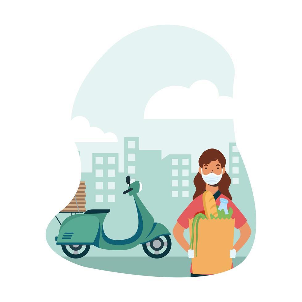 donna di consegna con maschera moto borsa e scatole disegno vettoriale