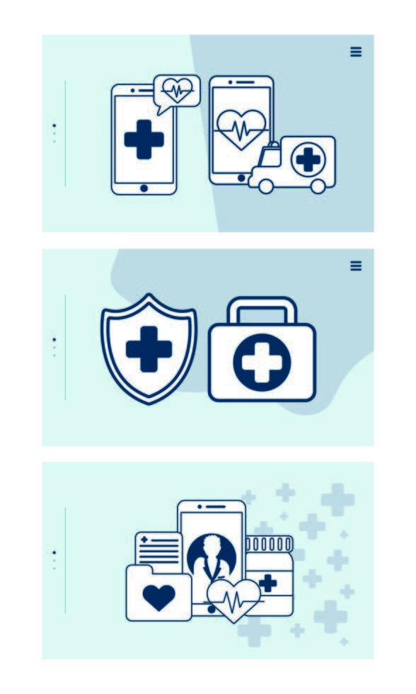 smartphone con tecnologia di telemedicina imposta icone vettore