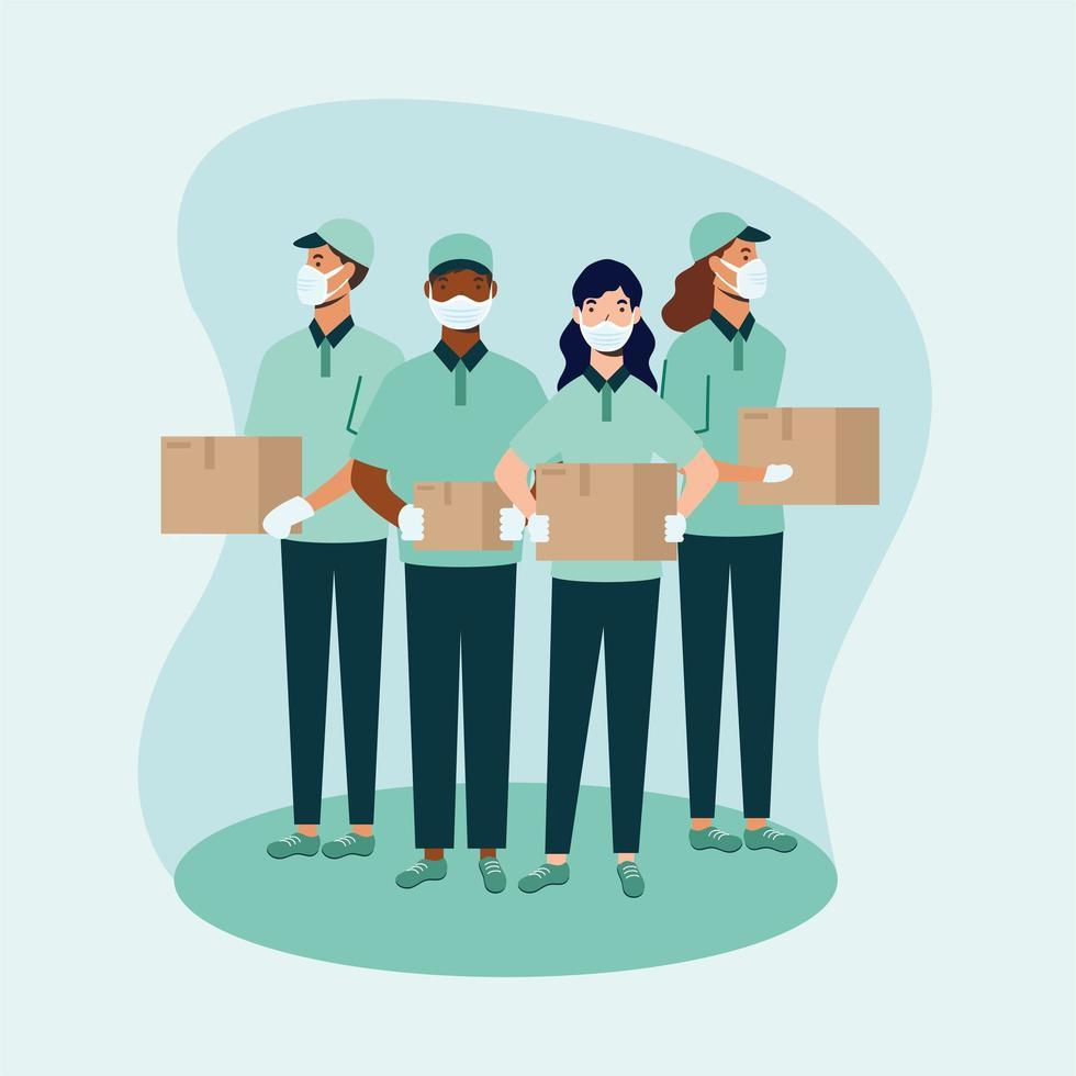 uomini e donne di consegna con maschere e scatole disegno vettoriale