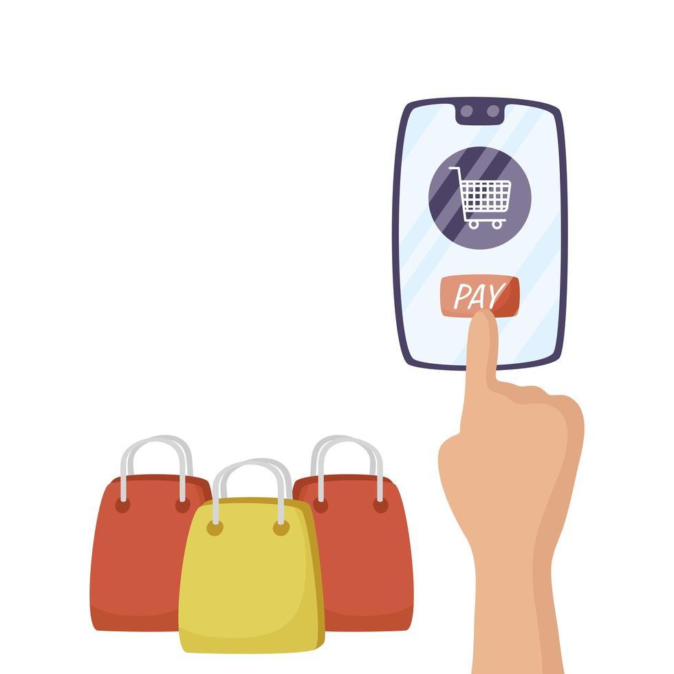 smartphone con carrello e borsa vettore