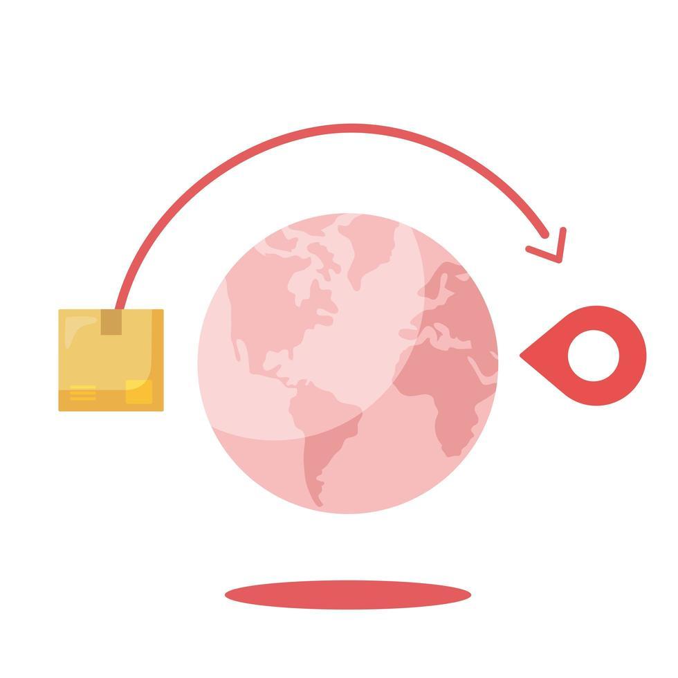 scatola di consegna e marchio gps intorno al disegno vettoriale mondiale