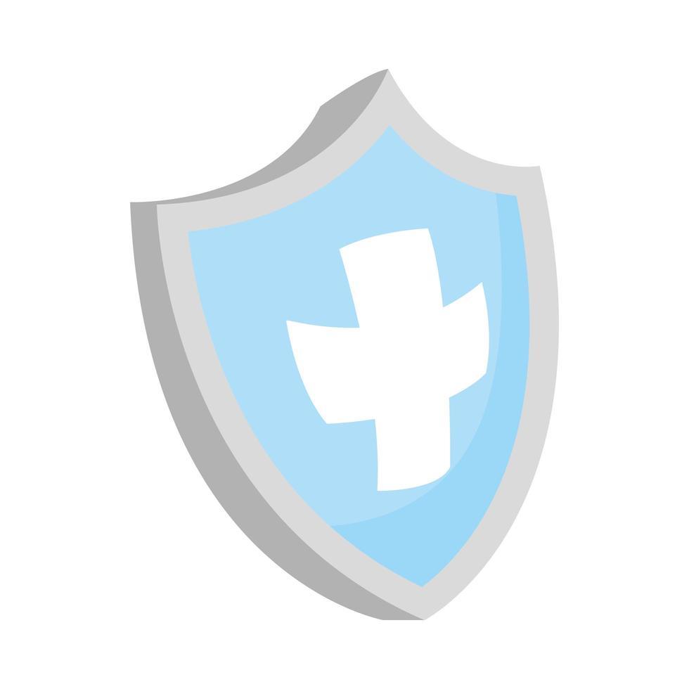 croce medica in icona isolata scudo vettore