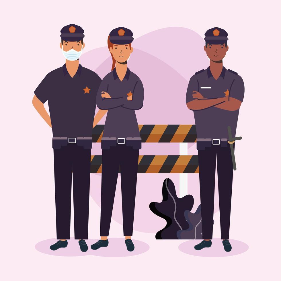 uomini e donne della polizia con maschera e disegno vettoriale barriera