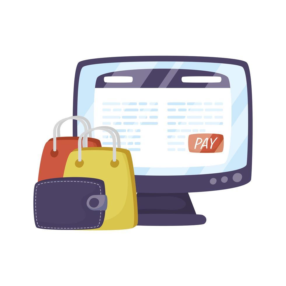 desktop con tecnologia di e-commerce di borse della spesa vettore