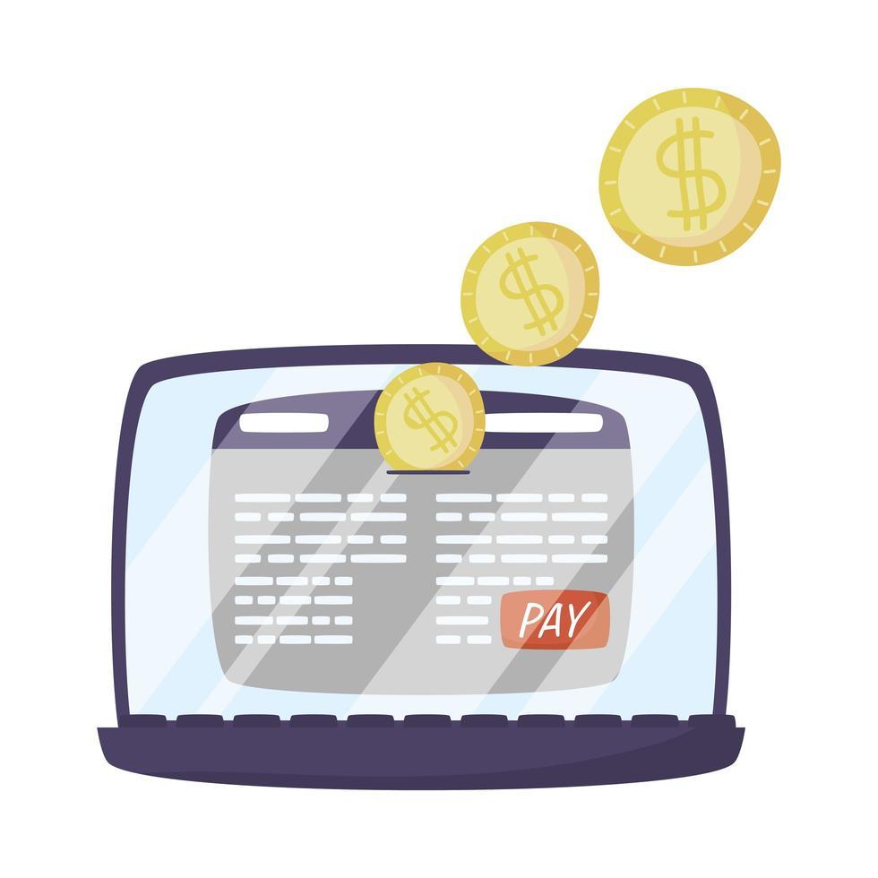 portatile con modello di pagina web e monete vettore