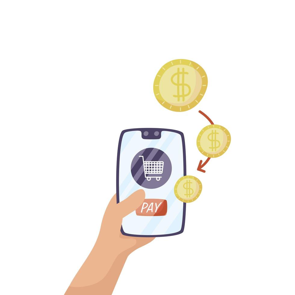 smartphone con carrello e monete soldi vettore