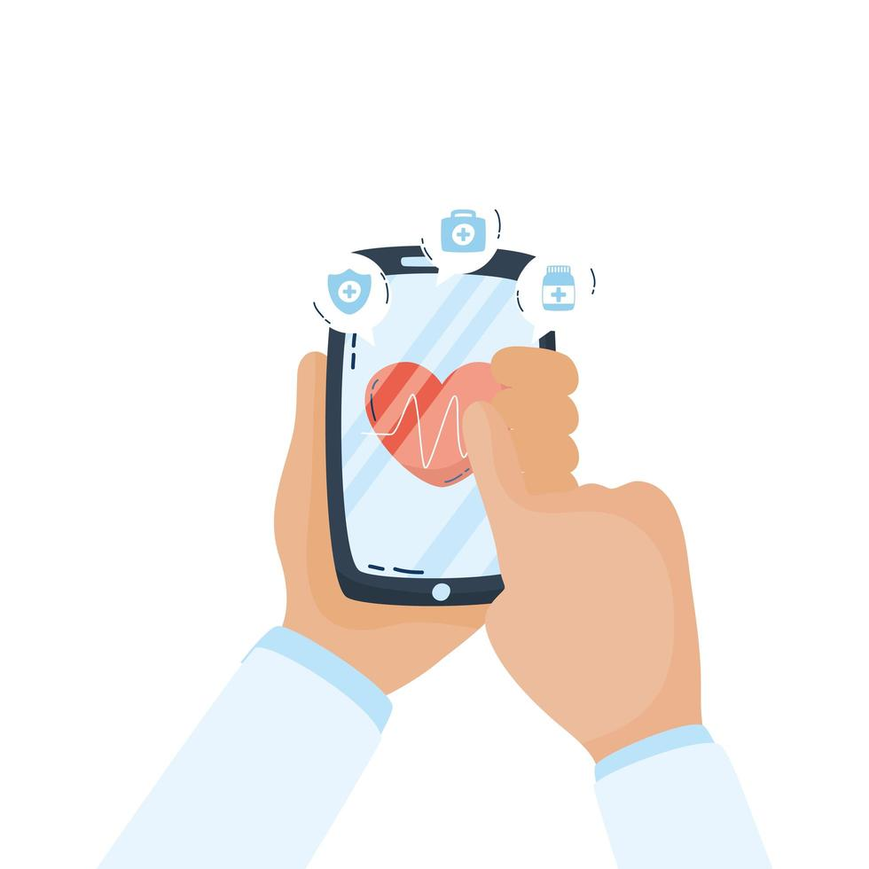 smartphone con app telemedicina cardiologia cardiaca vettore