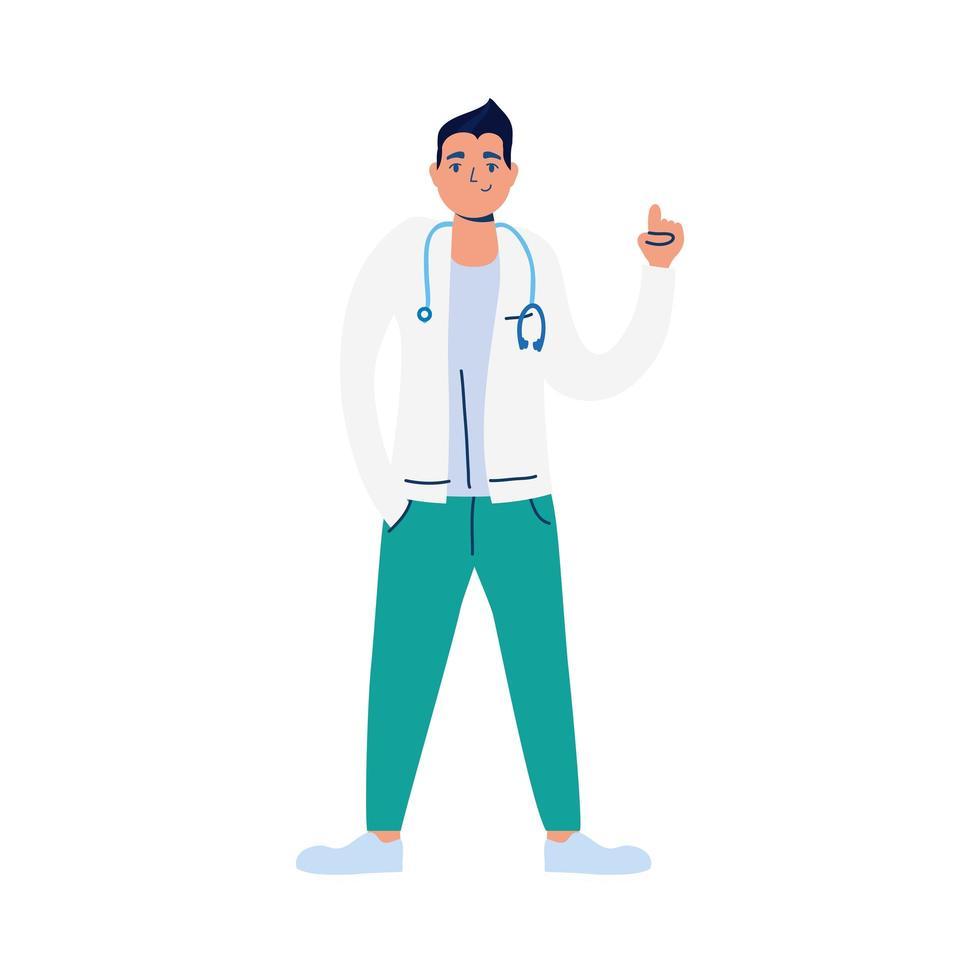 medico professionista con carattere stetoscopio vettore