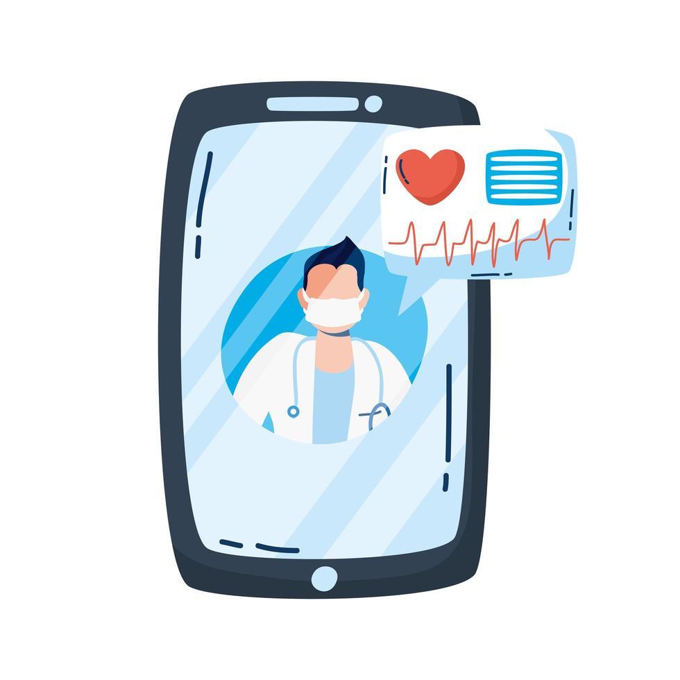 medico professionista con lo stetoscopio in smartphone vettore