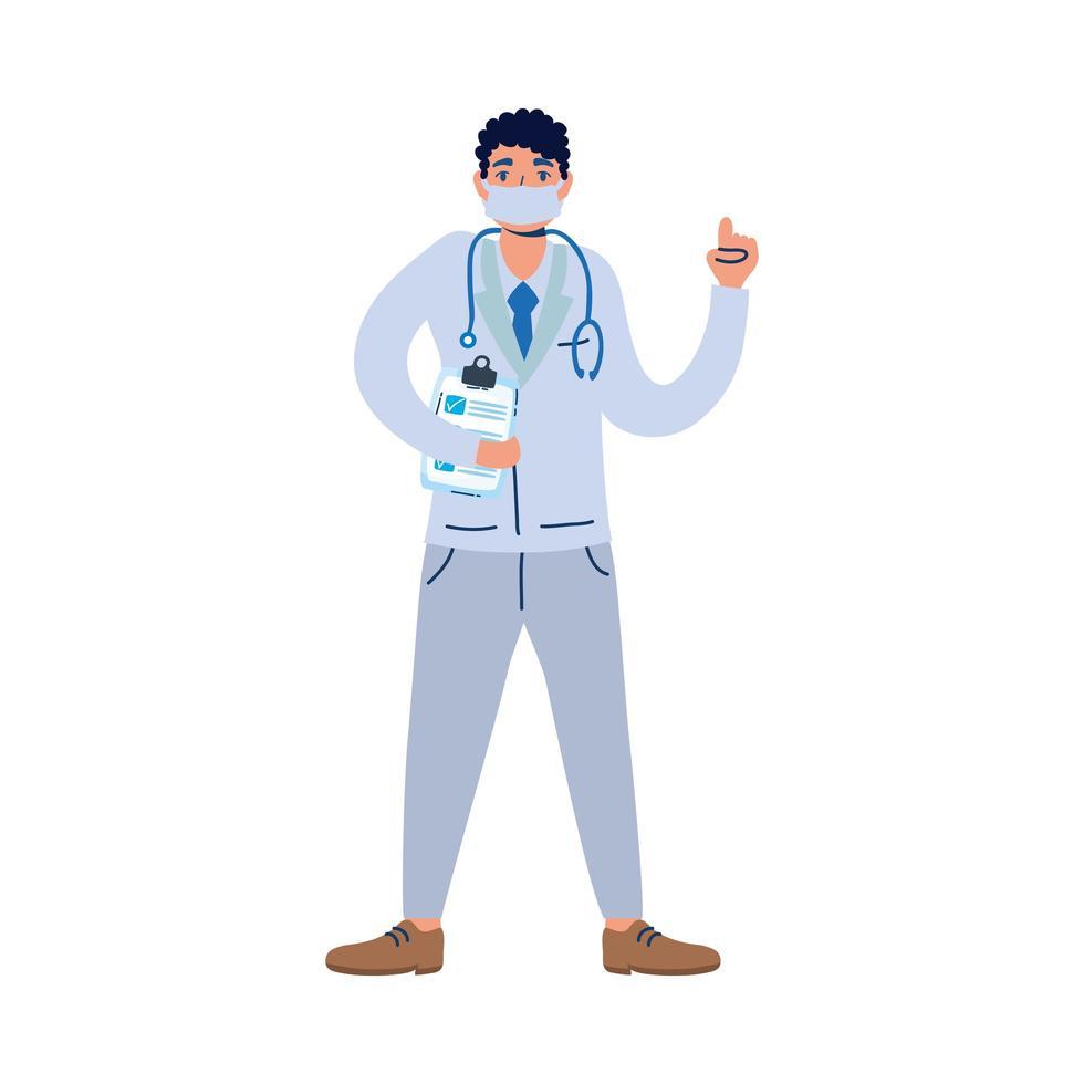 medico professionista con stetoscopio e lista di controllo vettore