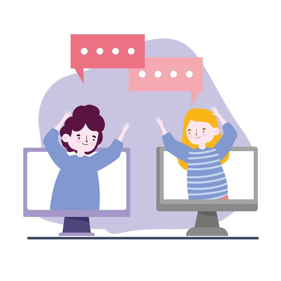 festa online, incontro con amici, giovane uomo e donna che parlano al computer mantengono le distanze durante il coronavirus vettore