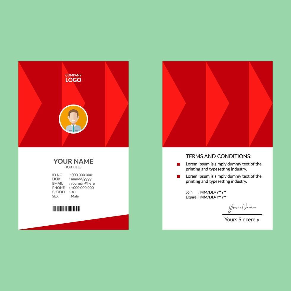 modello di progettazione di carta d'identità elegante rosso vettore