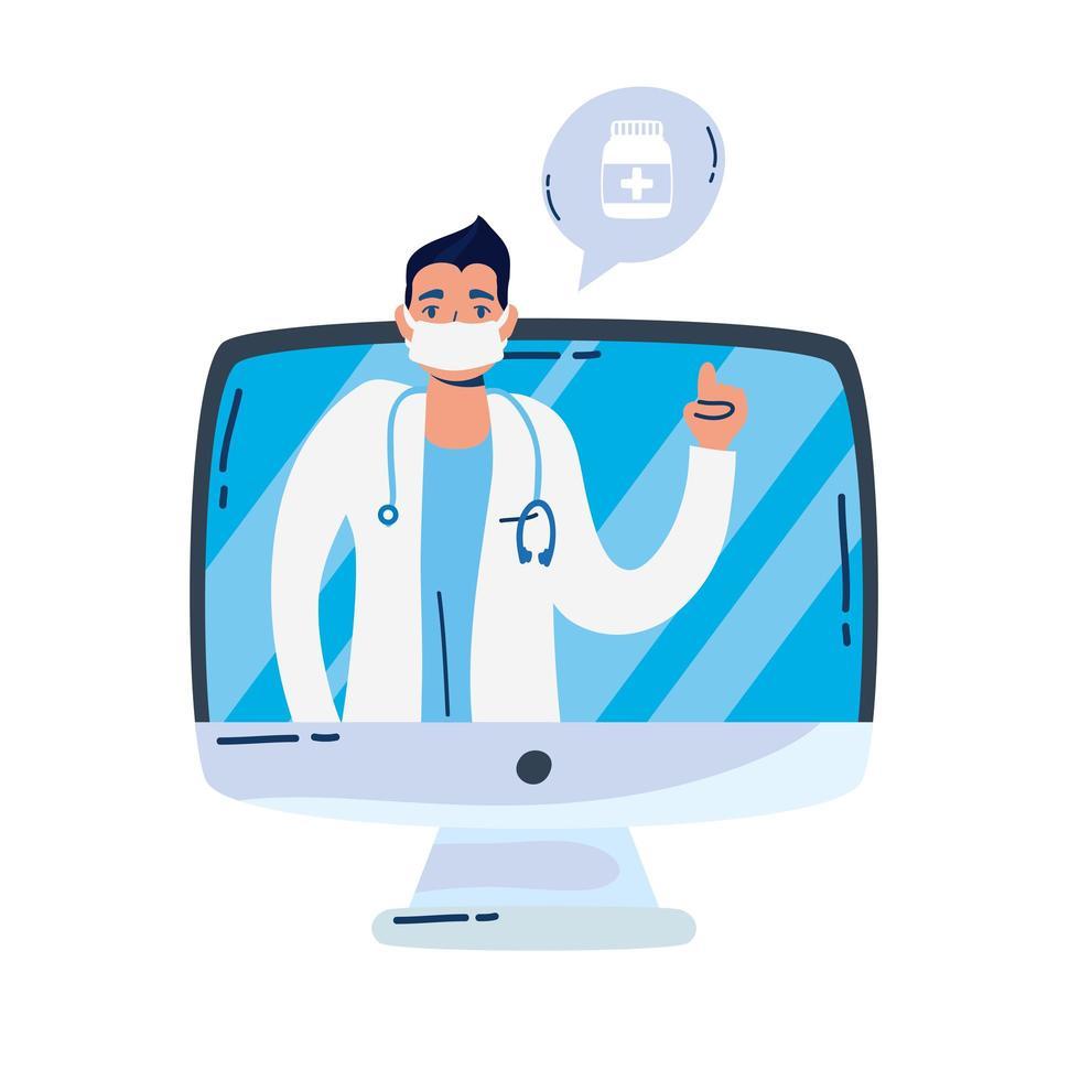 medico professionista con lo stetoscopio nel desktop vettore