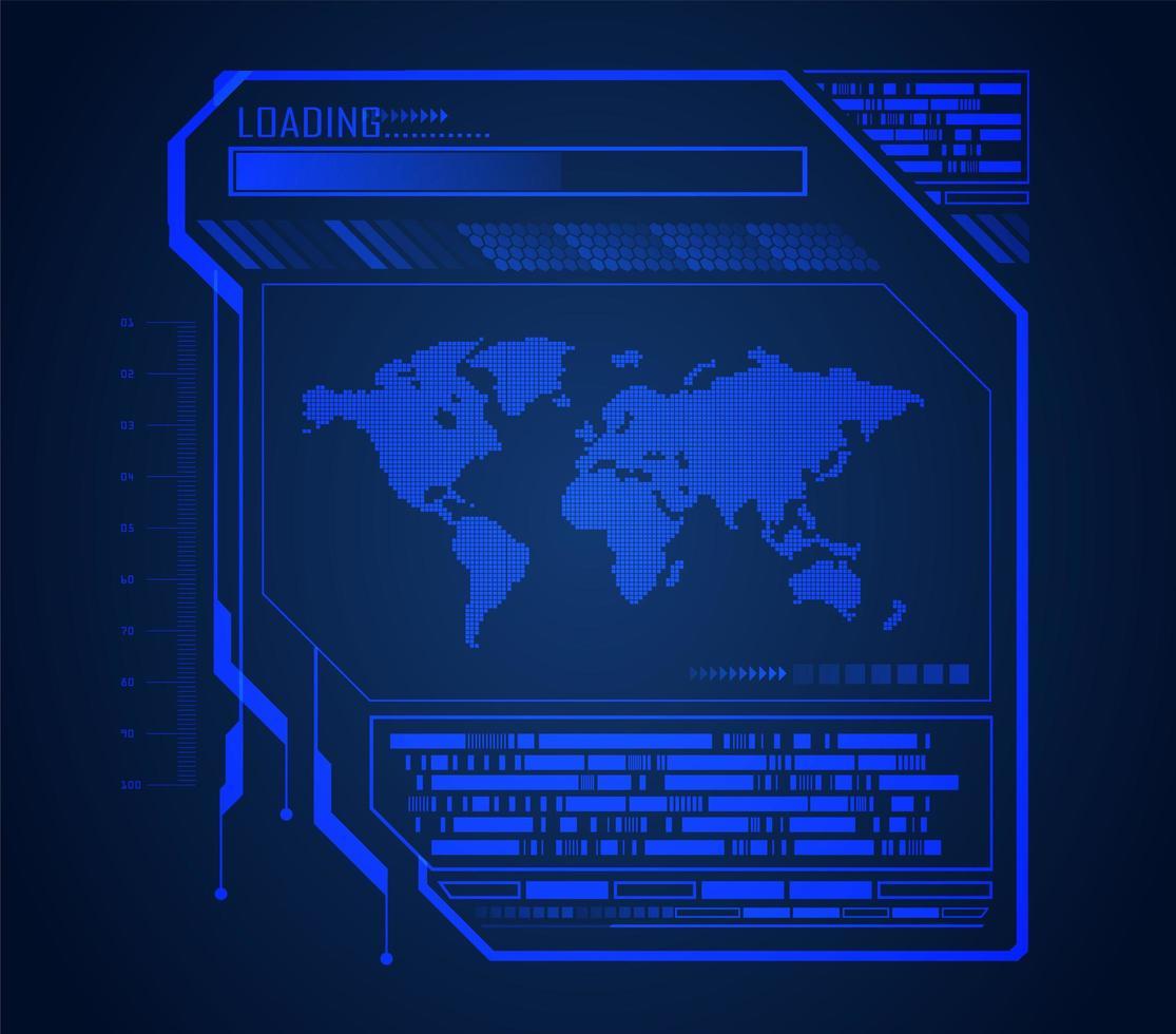 futuro e tecnologia sfondo blu ologramma con mappa del mondo vettore
