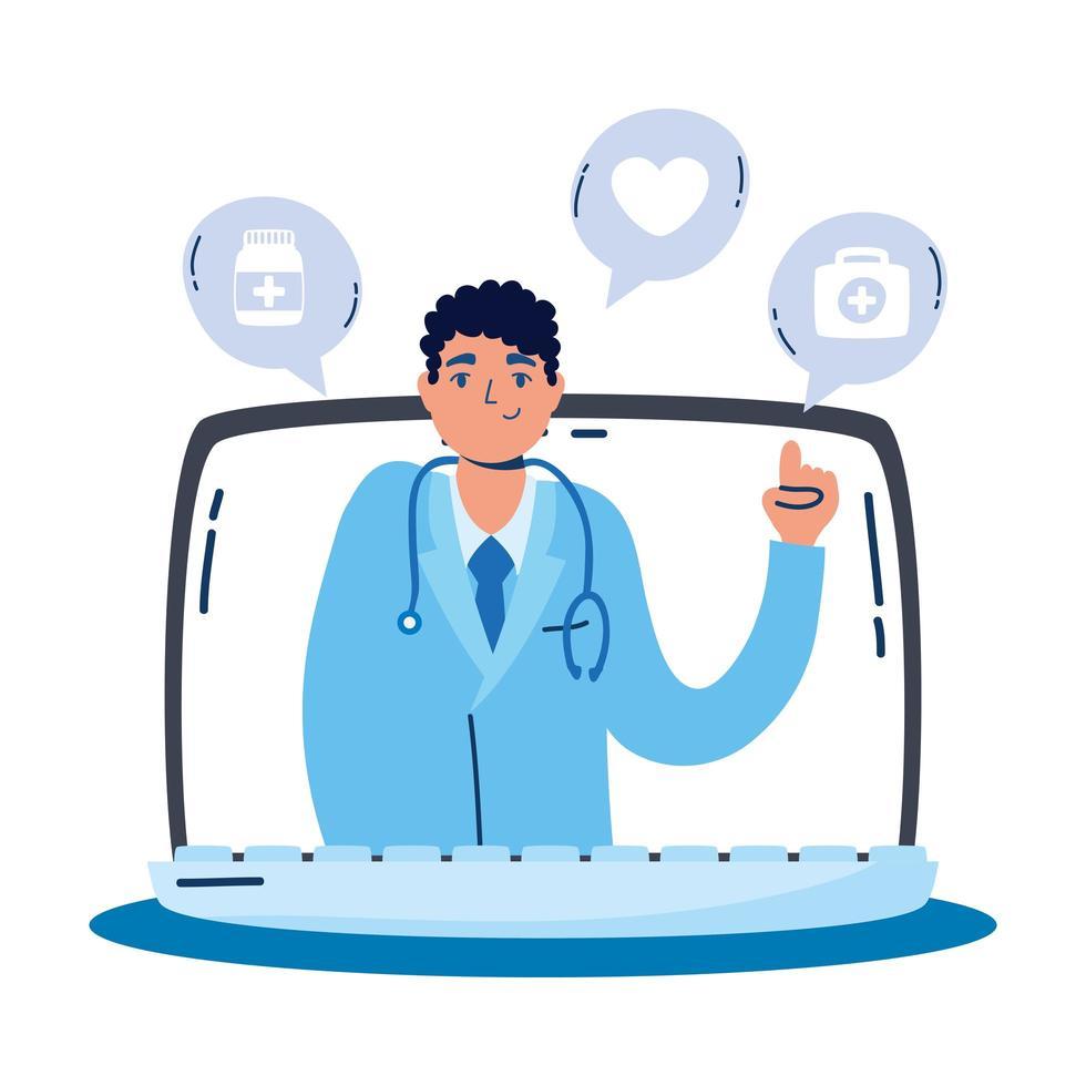 medico professionista con lo stetoscopio nel computer portatile vettore