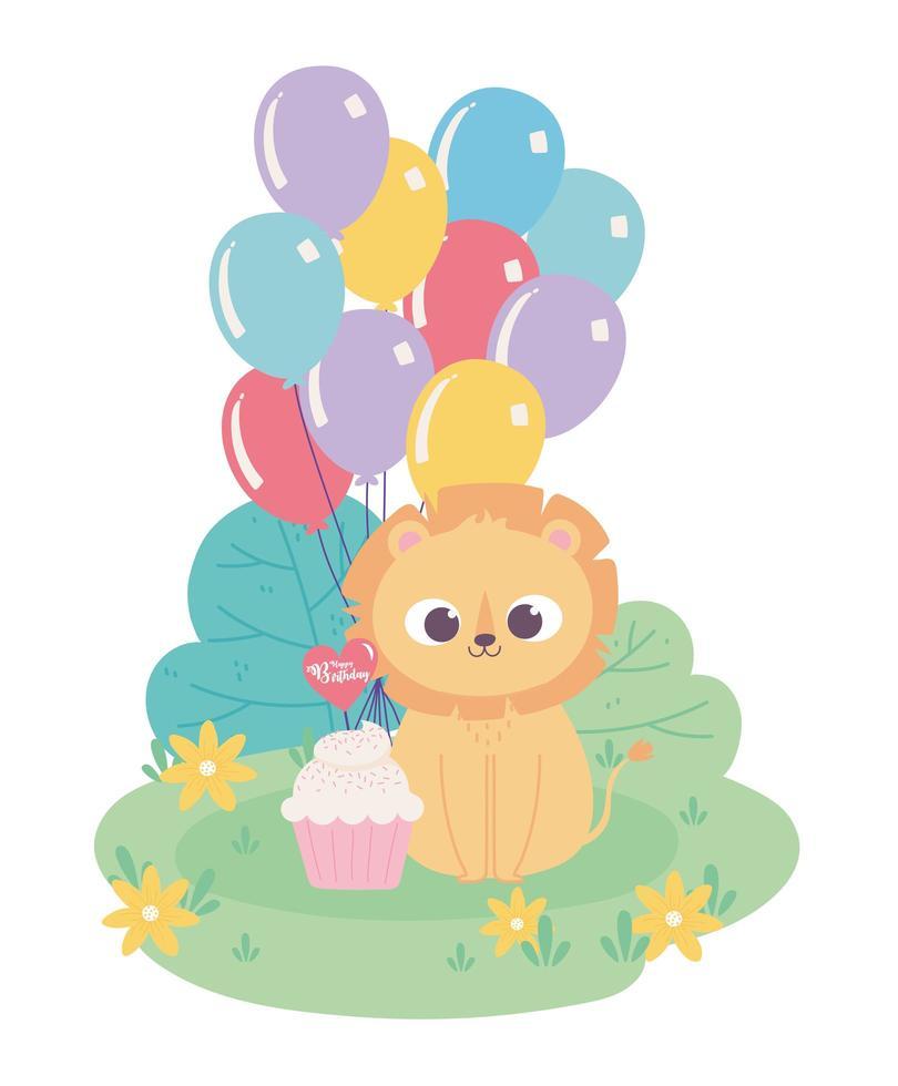 buon compleanno, piccolo leone carino con palloncini cappello da festa e cartone animato decorazione celebrazione cupcake vettore