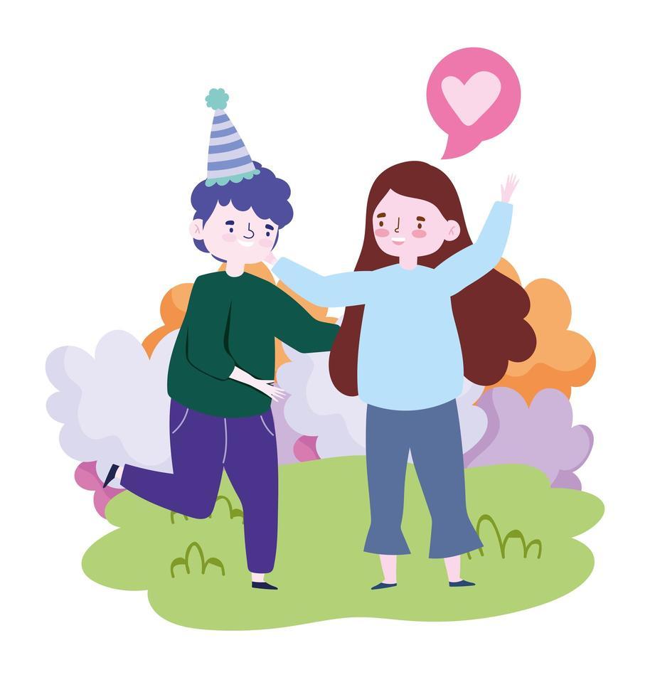 persone insieme per celebrare un evento speciale, coppia felice che abbraccia celebrando nel parco vettore