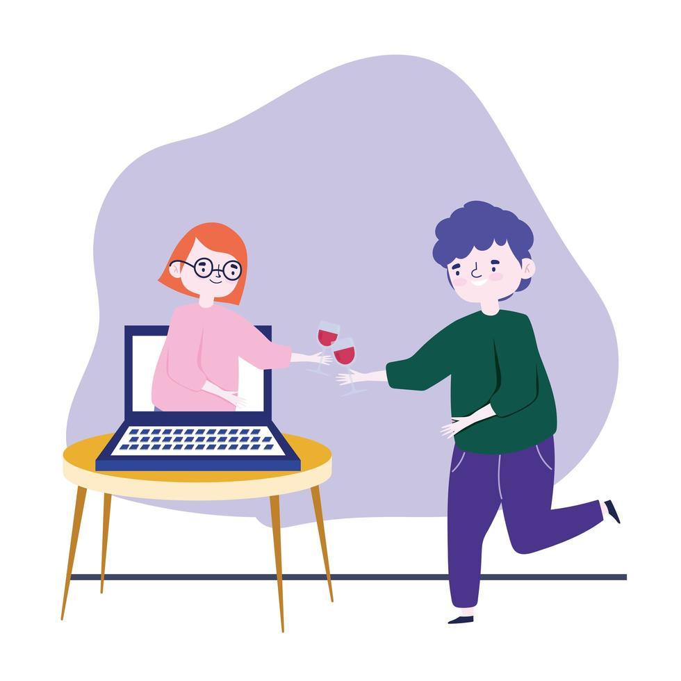 festa online, incontro con gli amici, uomo con una coppa di vino che celebra con una donna in videochiamata nel laptop vettore