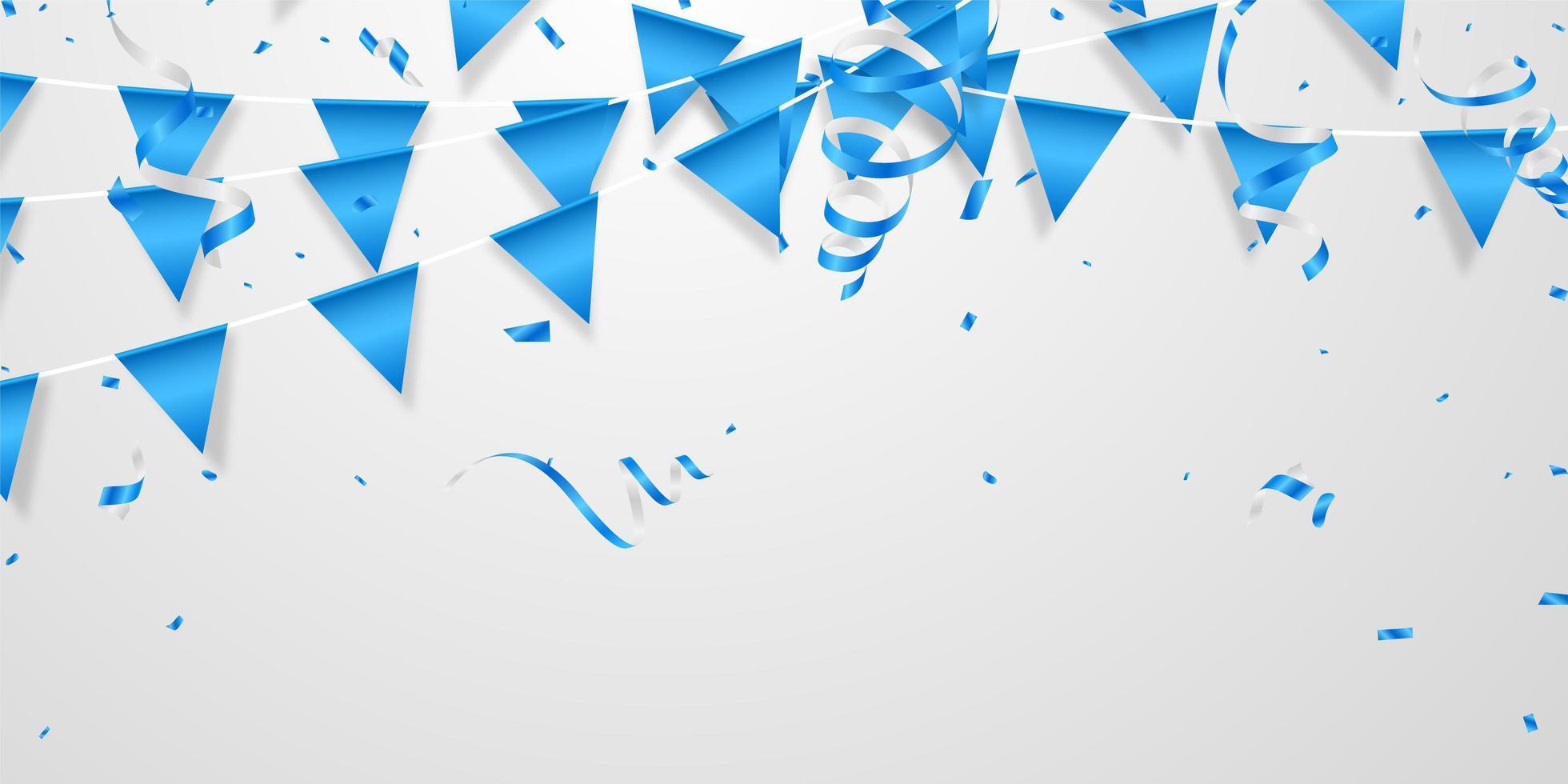 bandiera del partito e design concept coriandoli blu vettore