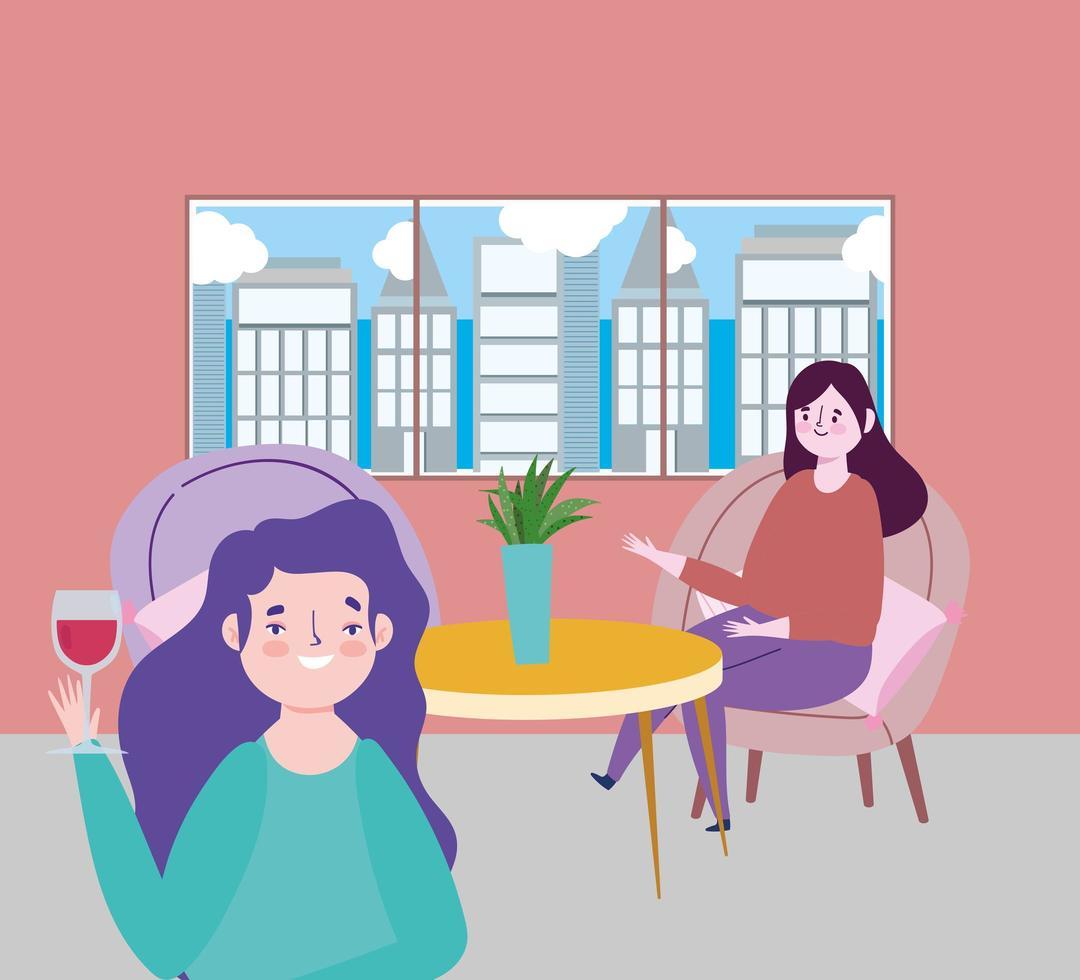 ristorante di allontanamento sociale o bar, donna con bicchiere di vino e ragazza seduta a tavola, covid 19 coronavirus, nuova vita normale vettore