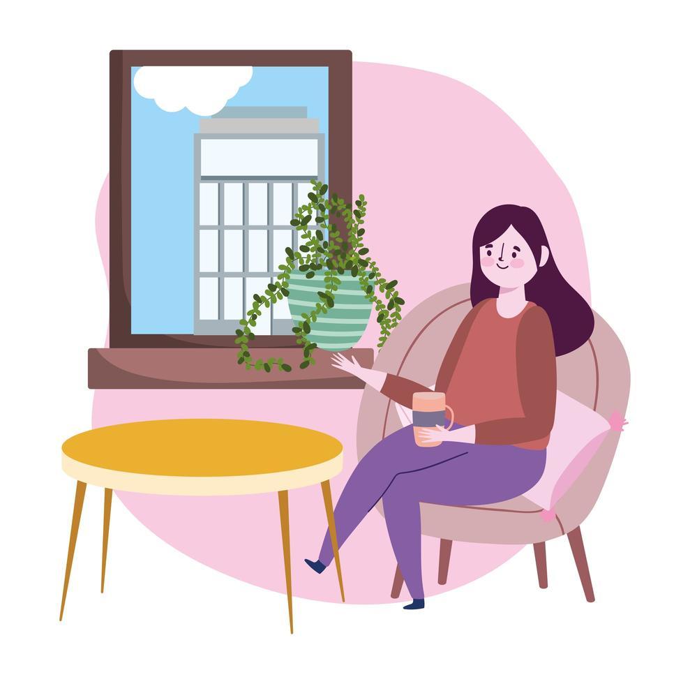 ristorante di allontanamento sociale o bar, donna con tazza di caffè alla ricerca di una finestra seduta su una sedia, covid 19 coronavirus, nuova vita normale vettore
