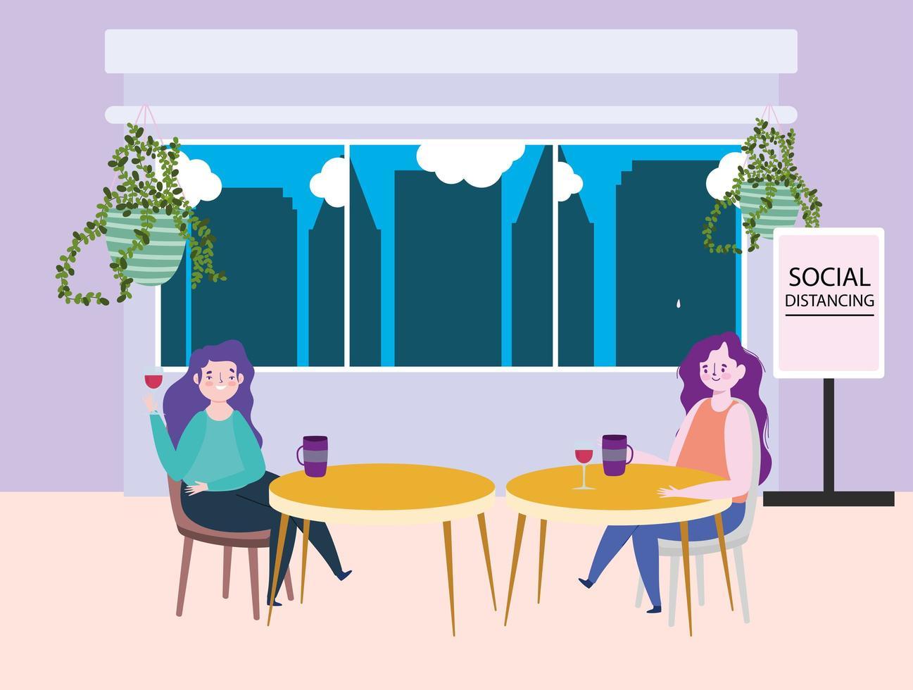 ristorante di allontanamento sociale o un bar, due donne single con tazze di caffè tengono le distanze ai tavoli, covid 19 coronavirus, nuova vita normale vettore