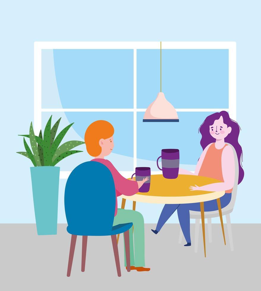 ristorante di allontanamento sociale o un bar, coppia che beve caffè, covid 19 coronavirus, nuova vita normale vettore