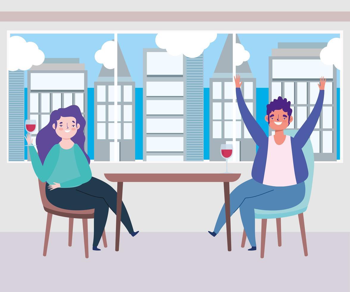 ristorante di allontanamento sociale o un bar, che celebra con un bicchiere di vino uomo e donna, covid 19 coronavirus, nuova vita normale vettore