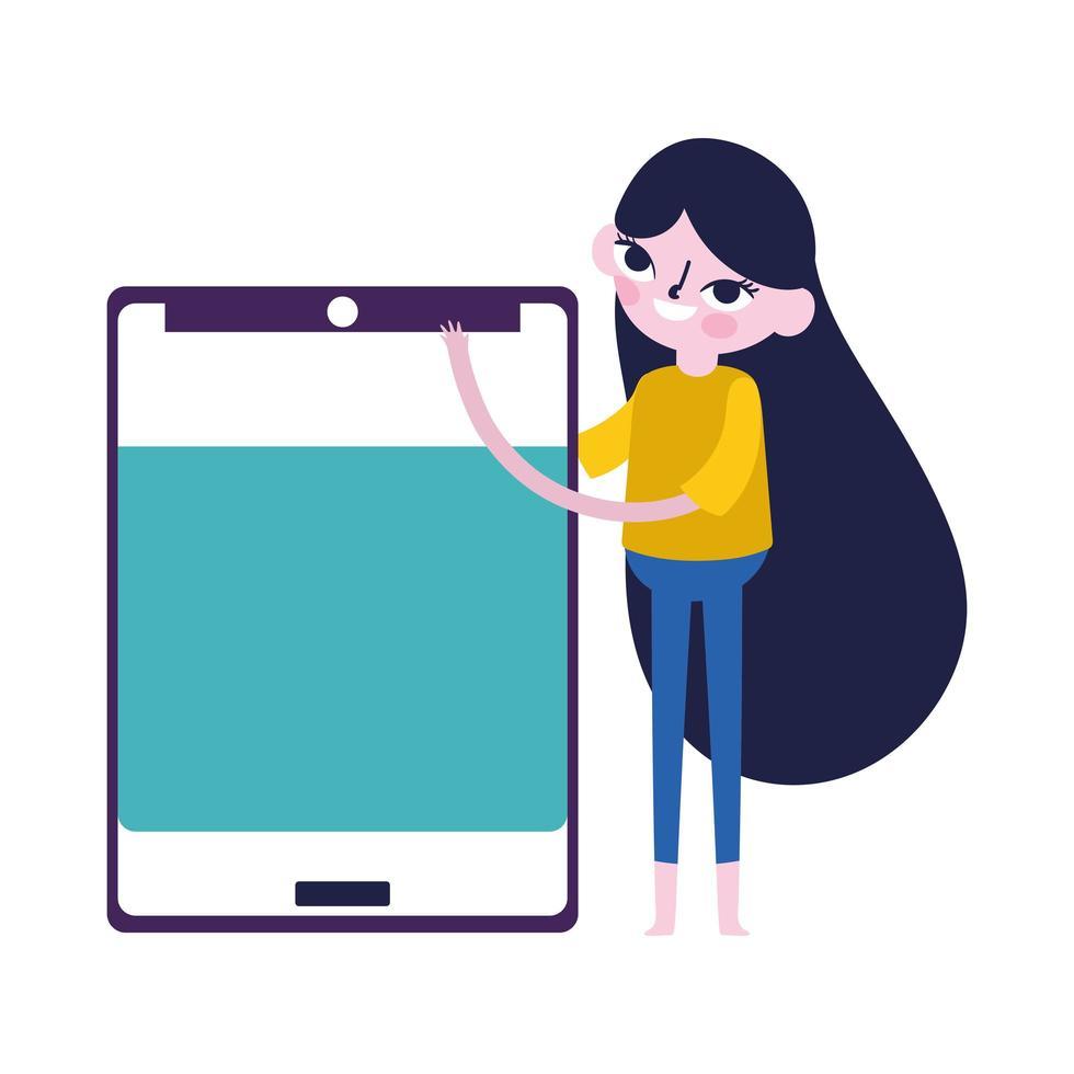 giovane donna con i social media del dispositivo smartphone vettore
