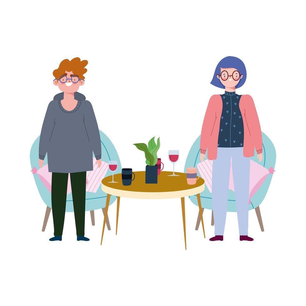 ristorante di allontanamento sociale o un bar, uomo e donna in piedi con tavolo e bicchieri, covid 19 coronavirus, nuova vita normale vettore
