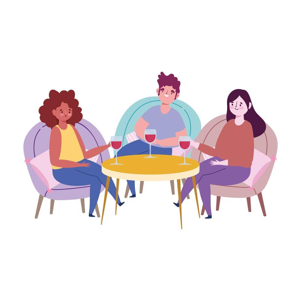 ristorante di allontanamento sociale o un caffè, persone che festeggiano con un bicchiere di vino, covid 19 coronavirus, nuova vita normale vettore