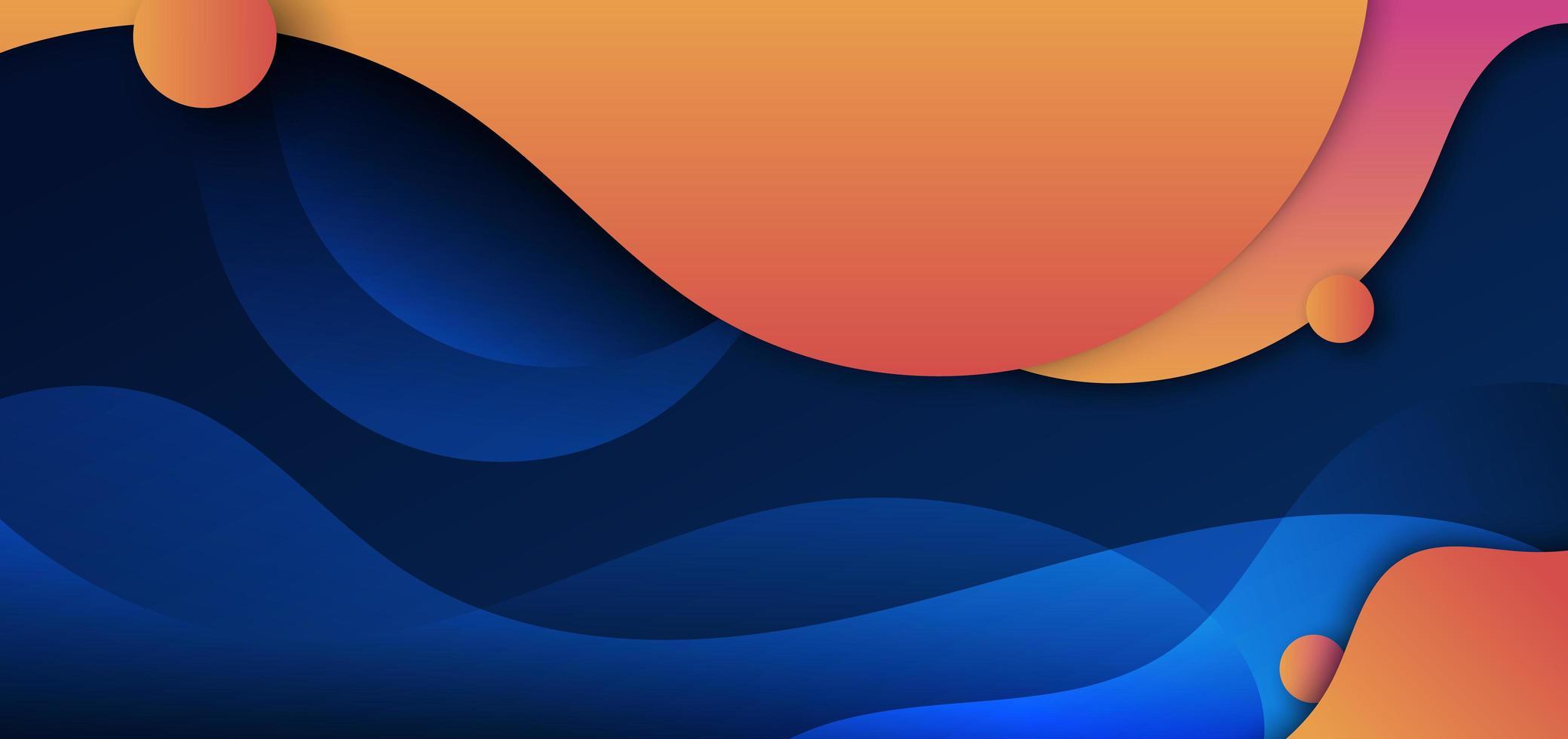 onda di forma fluida gialla e arancione astratta curva con cerchio su sfondo blu scuro. vettore